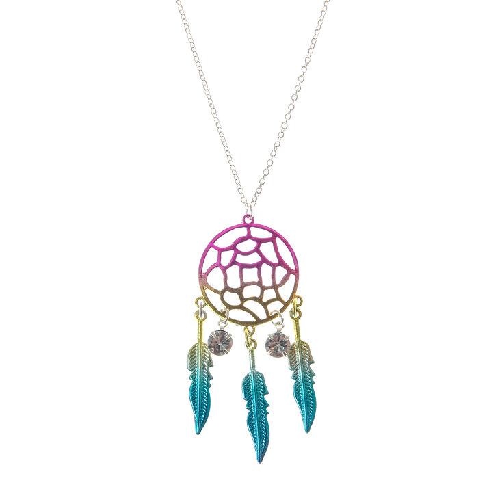 Rainbow Dreamcatcher Pendant Necklace,