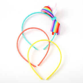 Claire's Club Rainbow Striped Bow Headbands - 3 Pack,