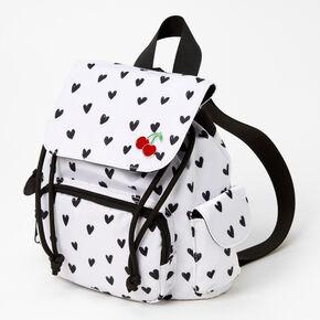 Heart Mini Backpack - Black & White,