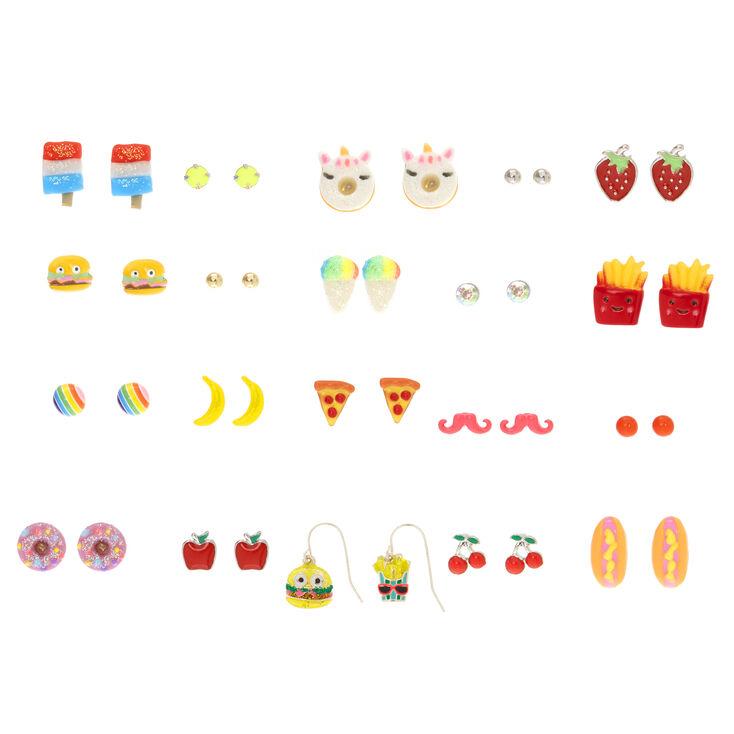 Silver Yummy Treats Stud Earrings - 20 Pack,
