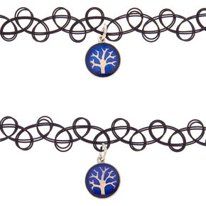 Mood Tree Of Life Tattoo Choker Necklaces - 2 Pack,