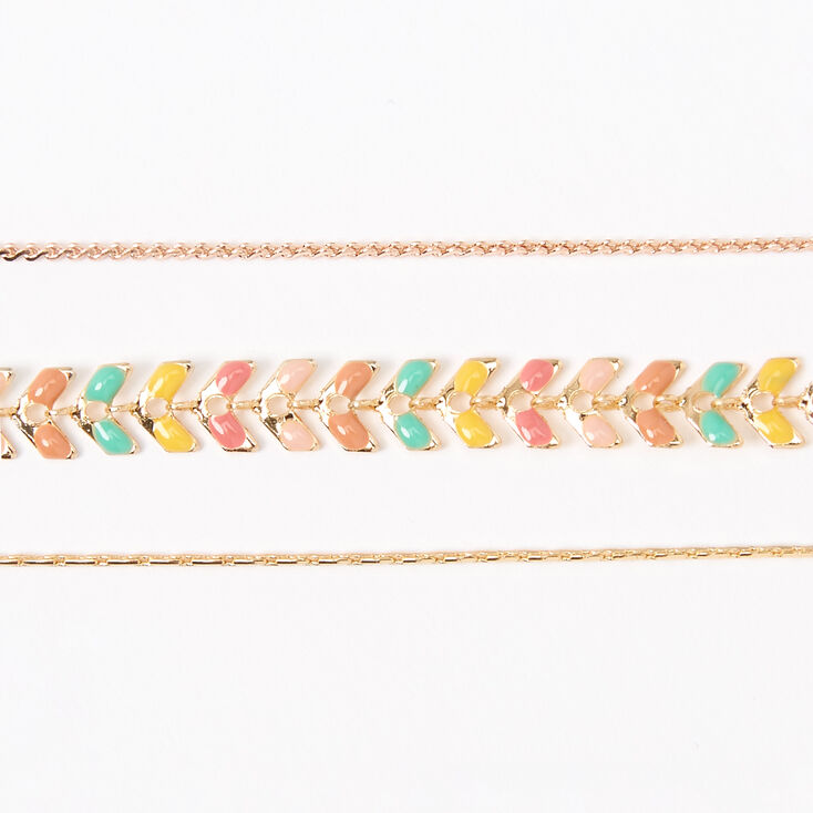Gold Colourful Scalloped Chain Bracelets - 3 Pack,