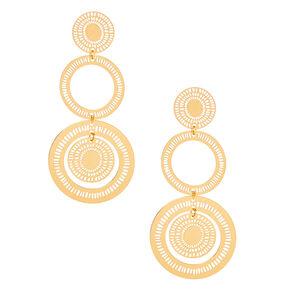"Gold 3"" Filigree Medallion Drop Earrings,"