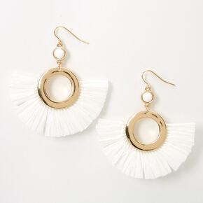 """Gold 2"""" Beaded Circle Fan Drop Earrings - White,"""