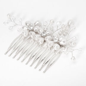Triple Pearl Flower Hair Comb - White,