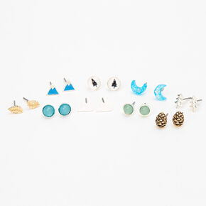Nature Adventure Stud Earrings - 9 Pack,