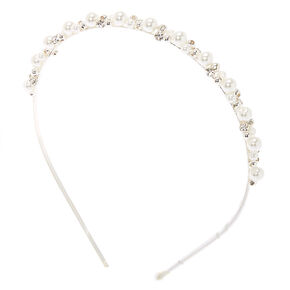 Silver Pearl Cluster Headband,