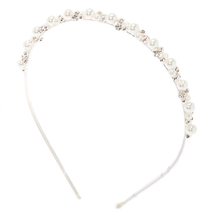 Silver Pearl Cluster Headband,