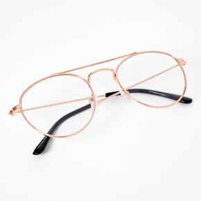 Double Bar Bridge Round Clear Lens Frames - Gold,