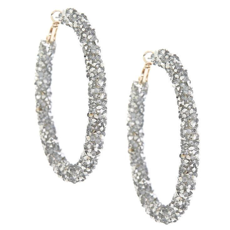 Silver 60mm Crystal Hoop Earrings