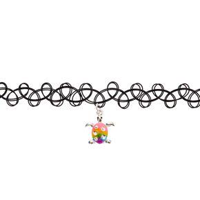 Rainbow Turtle Tattoo Choker Necklace,