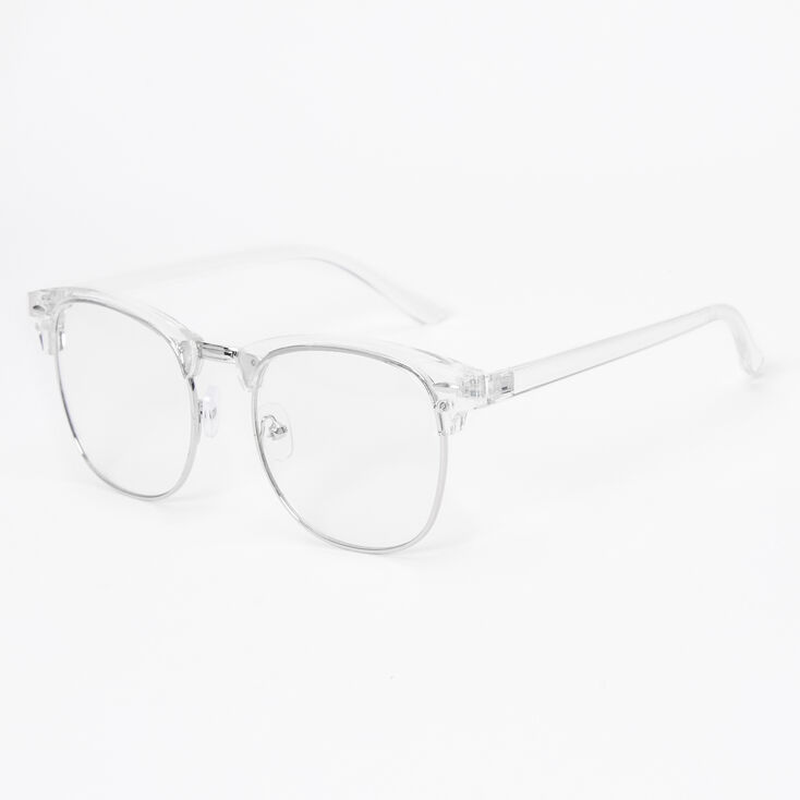 Silver Retro Browline Clear Lens Frames - Clear,