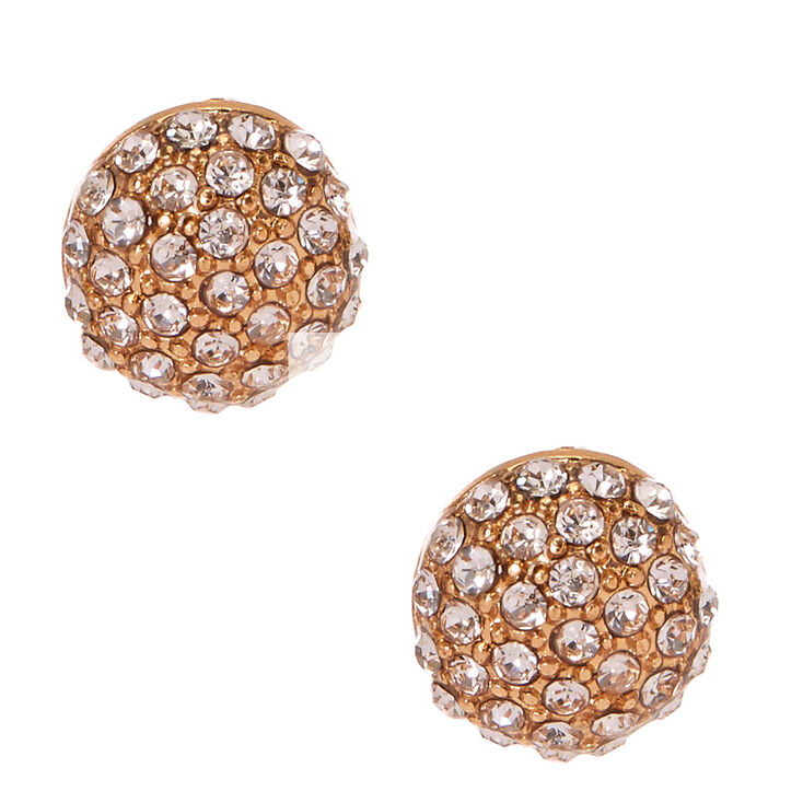 Gold Dome Pave Stud Earrings,