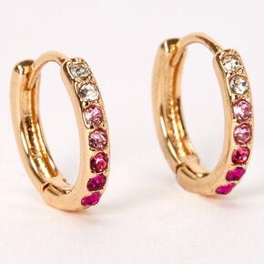 Boucles d'oreilles huggies ornementées 10mm couleur dorée - Rose,