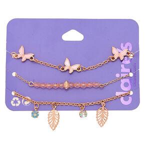 Bracelets de chaîne papillon et feuille couleur doré rose - Lot de 3,