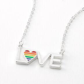 Silver Rainbow Love Heart Pendant Necklace,