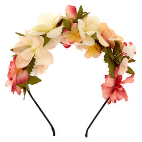 Ivory & Pink Flowers All Over Headband,