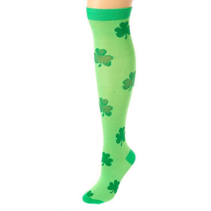 ded3deef7 Neon Shamrock Knee High Socks - Green | Claire's