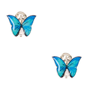 Silver Glitter Butterfly Clip On Earrings - Blue,