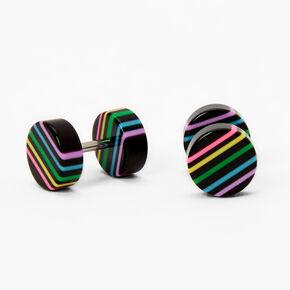 Rainbow Striped Plug Stud Earrings - Black,