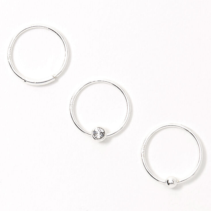 Sterling Silver 22G Bar Ball Crystal Hoop Nose Rings - 3 Pack,