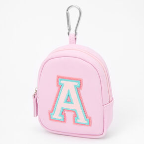 Pink Varsity Initial Mini Backpack Keychain - A,