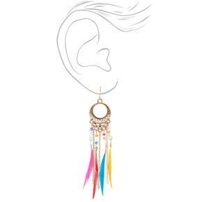 "Silver 3.5"" Rainbow Feather Drop Earrings,"