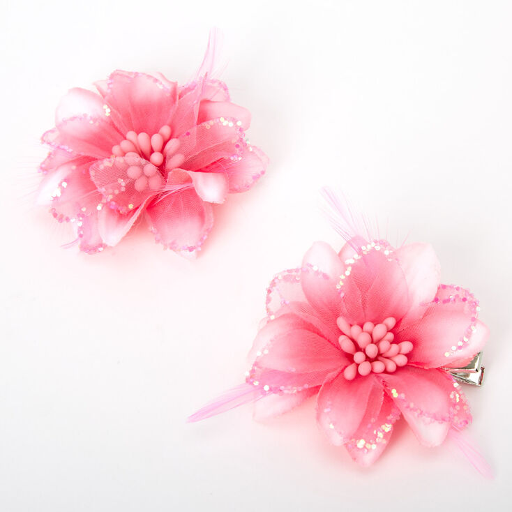 Ombre Lily Flower Hair Clips - Neon Pink, 2 Pack,
