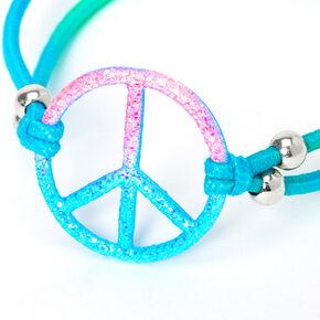 Bracelet élastique effet dégradé signe de la paix à paillettes,