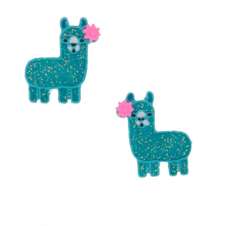 Silver Glitter Llama Stud Earrings - Turquoise,