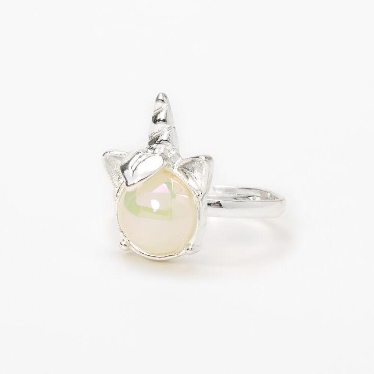 Silver Holographic Stone Unicorn Ring,