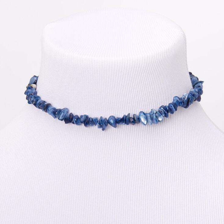 Puka Shell Choker Necklace - Blue,
