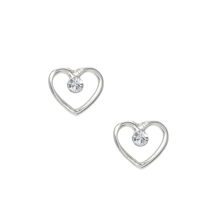 Sterling Silver Heart Outline Stud Earrings With Crystals