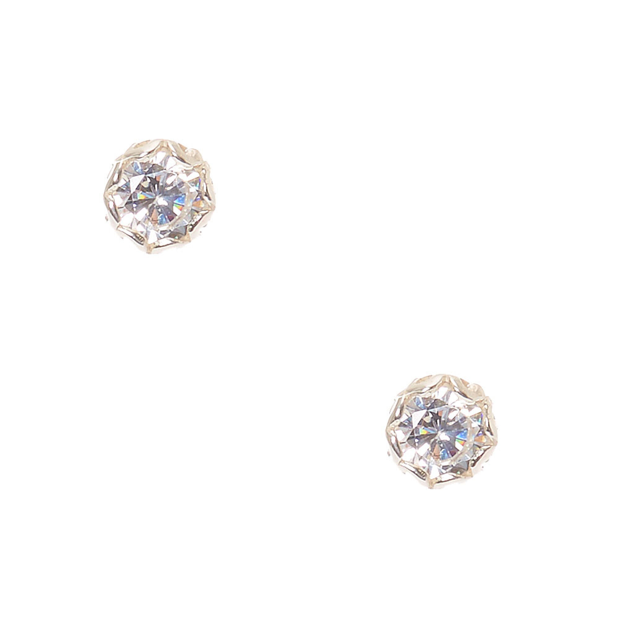 cubic amazon com gold stud earrings with yellow backs zirconia screw jewelry dp
