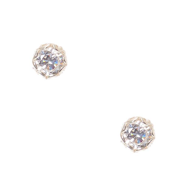 5mm Sterling Silver Cubic Zirconia Stud Earrings