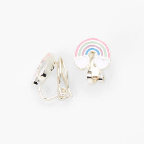 Pastel Rainbow Clip-On Stud Earrings,
