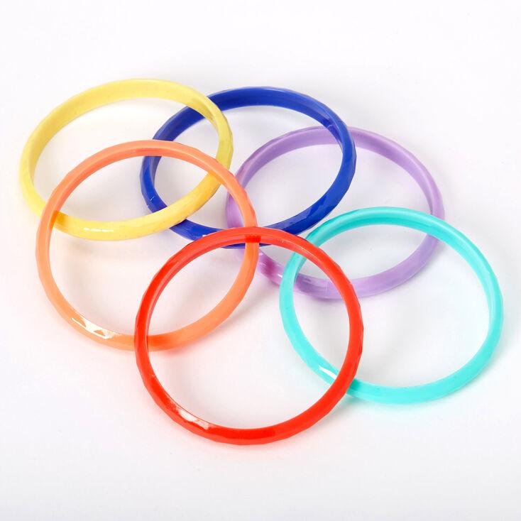 Claire's Club Rainbow Bangle Bracelets - 6 Pack,