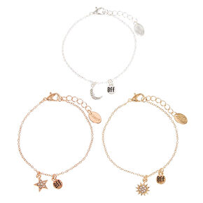 Mixed Metal Celestial Chain Friendship Bracelets - 2 Pack,