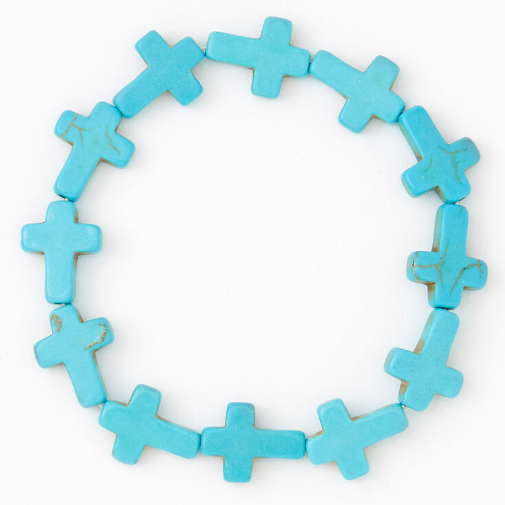 Cross Stretch Bracelet - Turquoise,