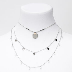 Silver Pearl Disc Multi Strand Necklace,