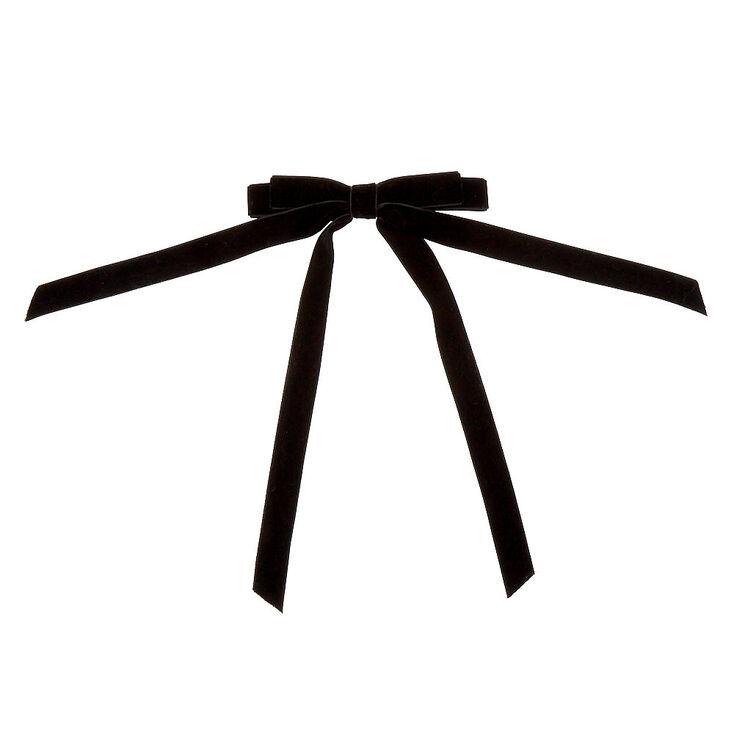 Velvet Bow Hair Barrette - Black,