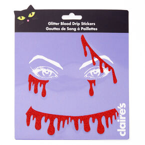 Glitter Blood Drip Face Stickers - Red,