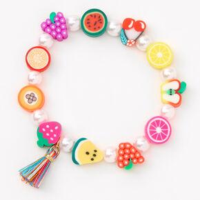 Bracelet élastique perlé fruits variés,