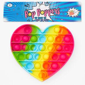 Pop Poppers Tie-Dye Heart Fidget Toy - Rainbow,