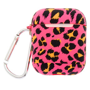 Hot Pink Leopard Earbud Case Cover - Compatible With Apple AirPods,