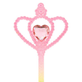 Claire's Club Glitter Heart Wand - Rainbow,