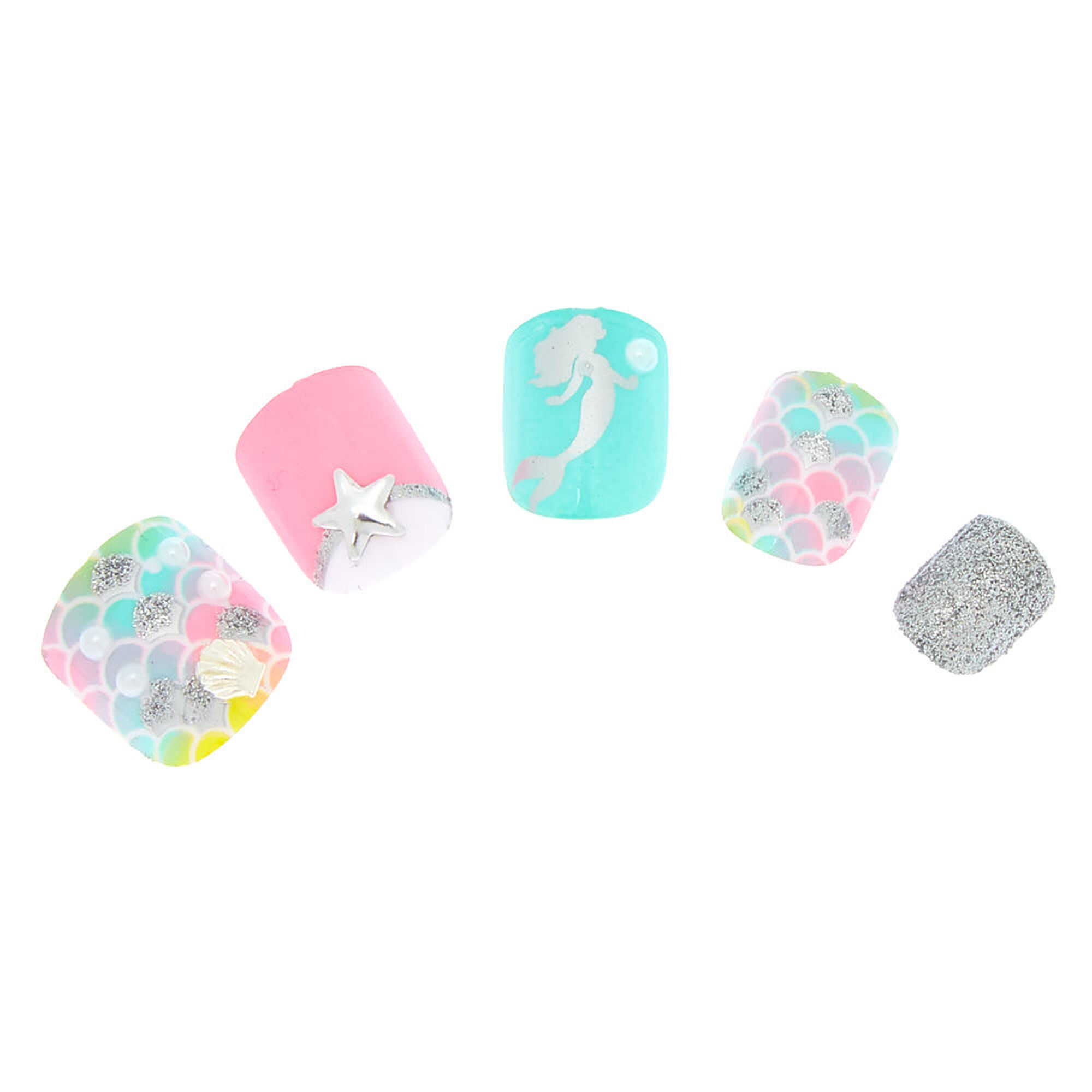 Halloween Nail Art Designs Without Nail Salon Prices: Pastel Mermaid Faux Nail Set - 24 Pack