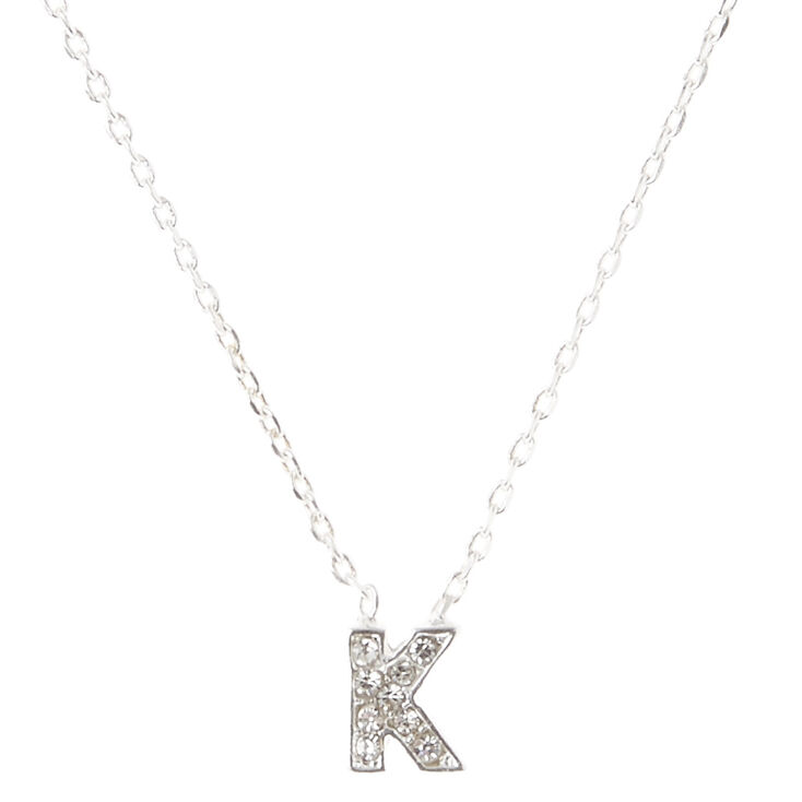 Silver Embellished Initial Pendant Necklace - K,