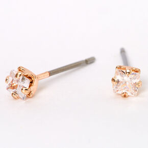 Rose Gold Cubic Zirconia Square Stud Earrings - 3MM,