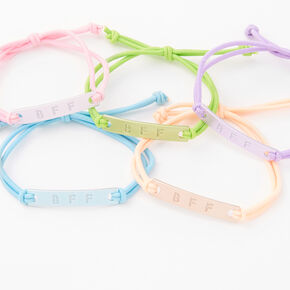 Pastel Metal Plaque Adjustable Friendship Bracelets - 5 Pack,